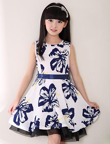 שמלה יום יומי\קז'ואל דפוס פוליאסטר כל העונות לבן הילדה של