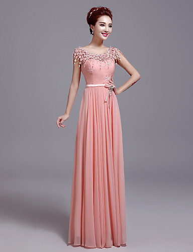 Kroj uz tijelo Ovalni izrez Do poda Čipka Formalna večer Haljina s Mašna Čipka po TS Couture®