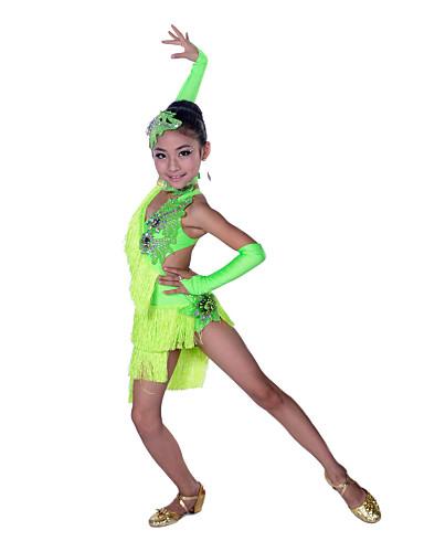 e0d2d0eb08b Latin Dance Dresses Performance Cotton   Spandex Tassel   Crystals    Rhinestones Sleeveless High Dress   Gloves   Headwear