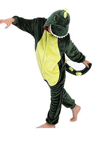cheap Kigurumi Pajamas-Kid's Kigurumi Pajamas Dinosaur Animal Onesie Pajamas Flannel Toison Green Cosplay For Boys and Girls Animal Sleepwear Cartoon Festival / Holiday Costumes