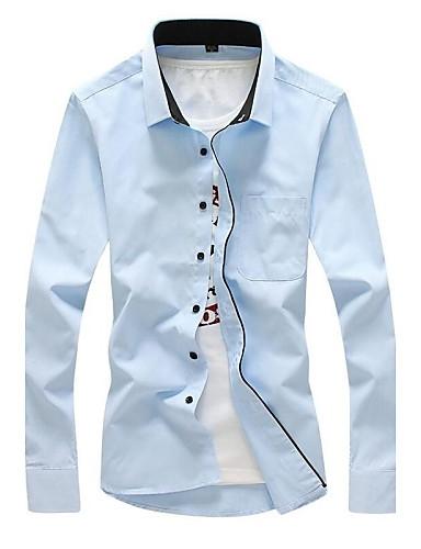 Bomull Langermet Skjorte Ensfarget Stripet Arbeid Plusstørrelser Fritid/hverdag Herre