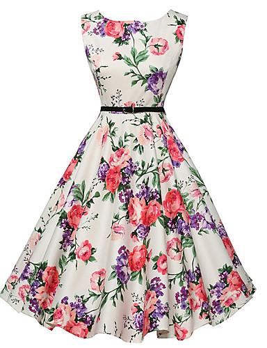 billige Blomstrede mønstre-Dame I-byen-tøj Vintage A-linje Kjole - Blomstret, Trykt mønster Knælang Hvid