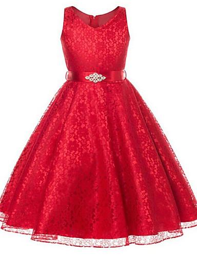 Mädchen Kleid Ausgehen Polyester Frühling Sommer Herbst Ärmellos Zum Kleid Weiß Schwarz Marinenblau Rot Hellblau