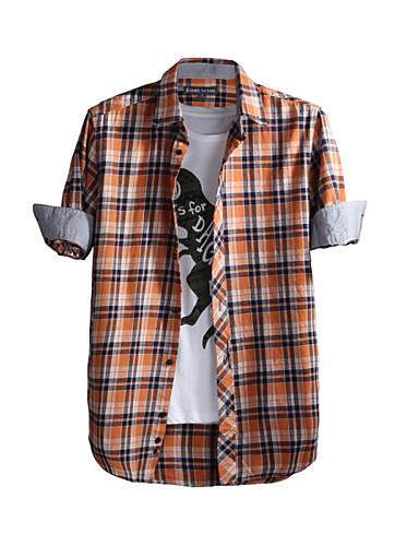 JamesEarl גברים צווארון חולצה שרוולים ארוכים חולצה וחולצה חום-DA202048104