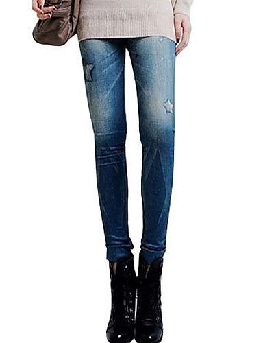 Damen Bedruckt Jeans Legging,Polyester Medium