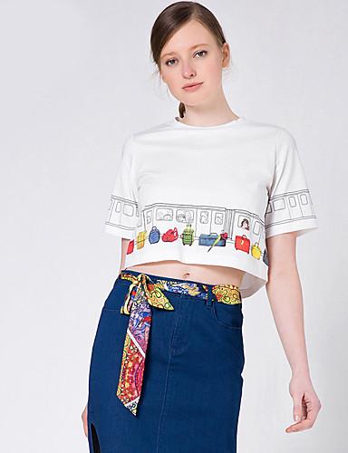 Goelia® Damen Rundhalsausschnitt Kurze Ärmel T-Shirt Beige-164W0B160