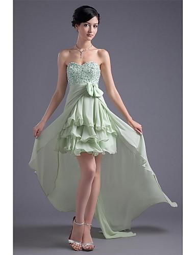 A-Linie Sweetheart Asymmetrisch Chiffon Cocktailparty Ball Kleid mit Perlenstickerei Seitlich drapiert durch XFLS