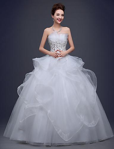 A-Linie Trägerlos Boden-Länge Spitze Tüll Hochzeitskleid mit Spitze durch