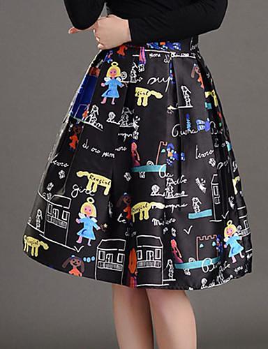 Damen Röcke - Street Schick Knielang Polyester Mikro-elastisch