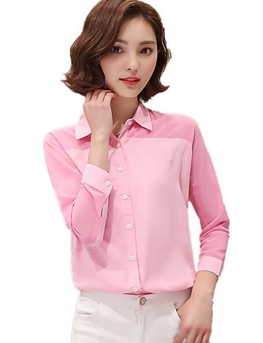 Damen Patchwork Einfach Lässig/Alltäglich Hemd,Hemdkragen Alle Saisons Langarm Rosa / Weiß / Grün Polyester Dünn