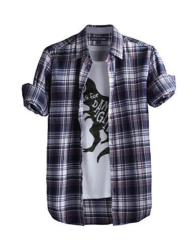 JamesEarl Masculino Colarinho de Camisa Manga Comprida Shirt & Blusa Azul - DA202049104