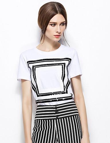 Zishangbaili® נשים צווארון עגול קצר חולצה וחולצה שנהב-TX1509