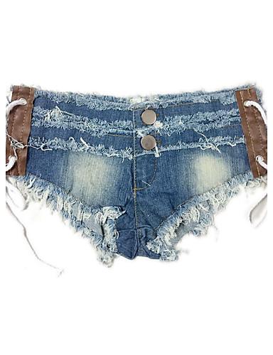 Dame Skinny Shorts Jeans Bukser - Formell Stil, Ensfarget Lavt liv