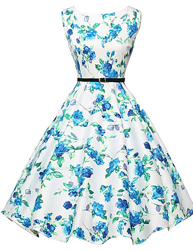 Dame I-byen-tøj Vintage A-linje Kjole - Blomstret, Trykt mønster Knælang / Sommer / Blomstermønstre
