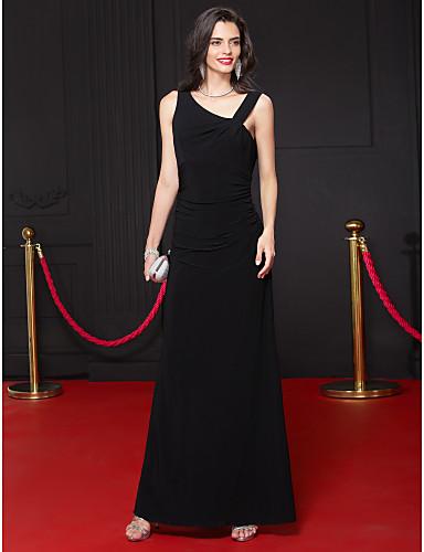Tubinho Decote V Até o Tornozelo Microfibra Jersey Frente Única Evento Formal Vestido com Pregas de TS Couture®