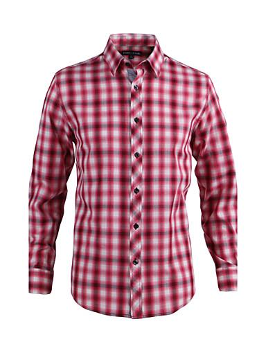 JamesEarl Masculino Colarinho de Camisa Manga Comprida Shirt & Blusa Vermelho - DA202028701