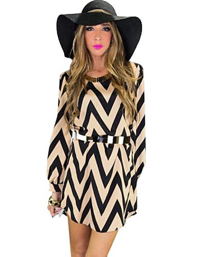 Women's Striped Black Dress , Sexy Round Neck Long Sleeve
