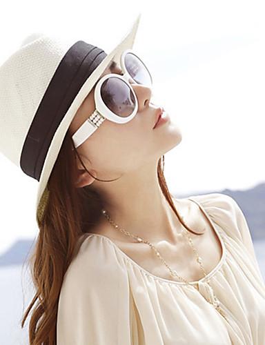 abordables Accessoires Femme-Femme Paille Soirée Chapeau de soleil Mosaïque Blanc Beige Marron Printemps Eté Automne / Mignon / Brun / Chapeau & Bonnet
