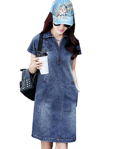 Damen Kleid-Jeansstoff Einfach / Street Schick Solide Übers Knie Polyester Hemdkragen