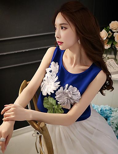 קולור בלוק צווארון עגול חמוד חג חולצה נשים,קיץ ללא שרוולים כחול / לבן בינוני (מדיום) פוליאסטר