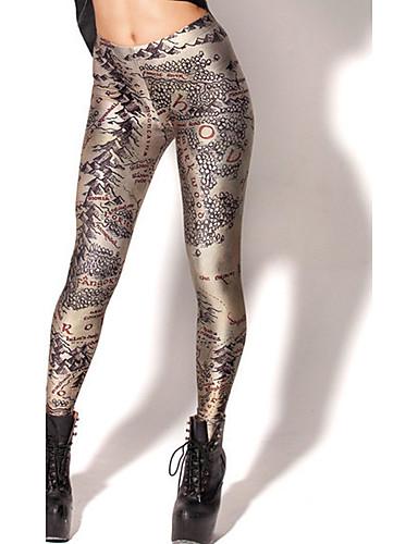 Damen Mittel Polyester Galaxis Bedruckt Legging,Gold