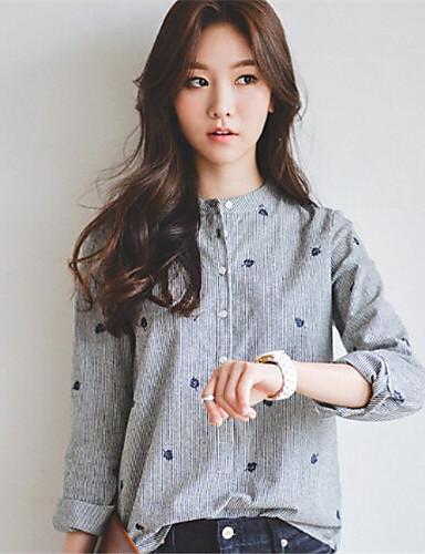 povoljno Ženske majice-Majica Žene Dnevno Pamuk Vez Uski okrugli izrez Sive boje / Proljeće