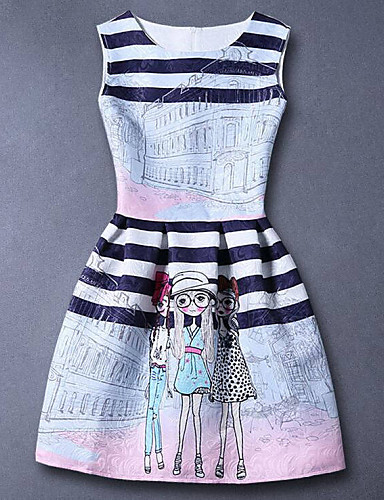 שמלה חוטי זהורית אביב קיץ סתיו ללא שרוולים יומי הילדה של סרט מצוייר פסים כחול
