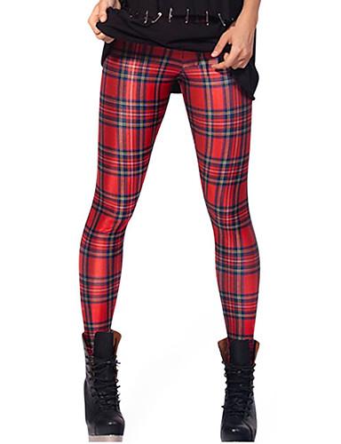 Damen Mittel Polyester Elasthan Einfarbig Legging, Rot Grün