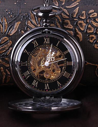 Homens Relógio de Bolso relógio mecânico Automático - da corda automáticamente Gravação Oca Lega Banda Luxuoso Preta