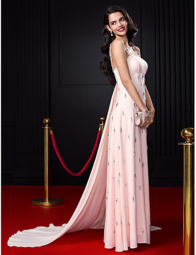 A-Line Spaghetti Strap Court Train Chiffon Celebrity Style Formal Evening Dress with Beading / Crystals by TS Couture®