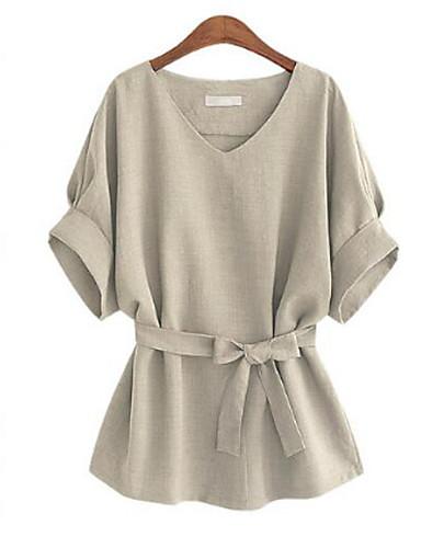 Tee-shirt Grandes Tailles Femme, Couleur Pleine Noeud Chic de Rue Col en V / Eté