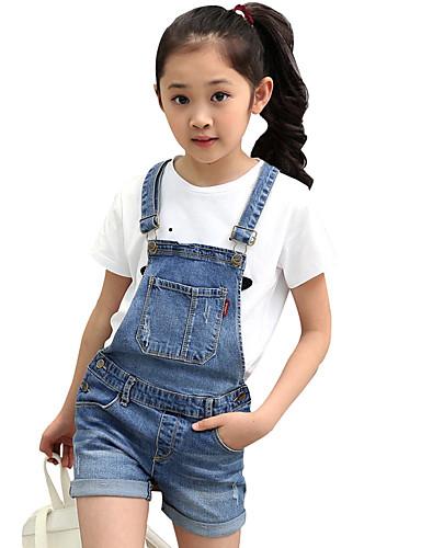 Mädchen Jeans-Lässig/Alltäglich einfarbig Baumwolle Sommer Blau