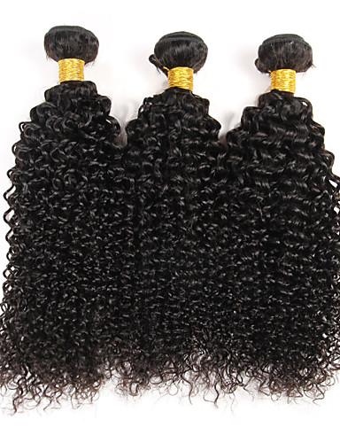 baratos Liquidação-3 pacotes Cabelo Brasileiro Kinky Curly Weave Curly 10A Cabelo Virgem Cabelo Humano Ondulado Natureza negra Tramas de cabelo humano Venda imperdível Extensões de cabelo humano / Crespo Cacheado