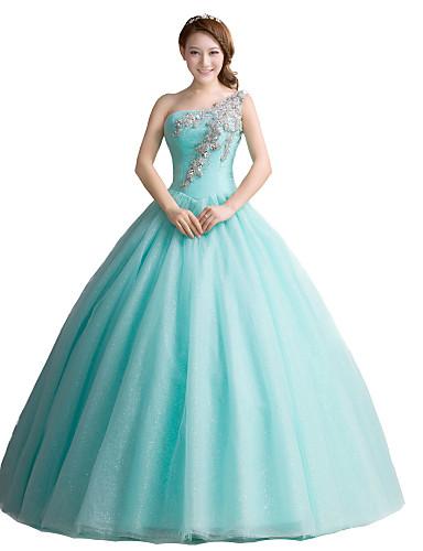נשף / נסיכה כתפיה אחת עד הריצפה טול ערב רישמי שמלה עם פרטים מקריסטל על ידי / בהשפעת וינטאג'