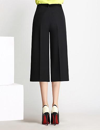 Mulheres Cintura Alta Culotte / Perna larga Calças - Sólido / Primavera
