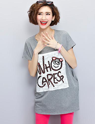 Damen Freizeit Aktiv Etuikleid T Shirt Kleid - Druck Mini