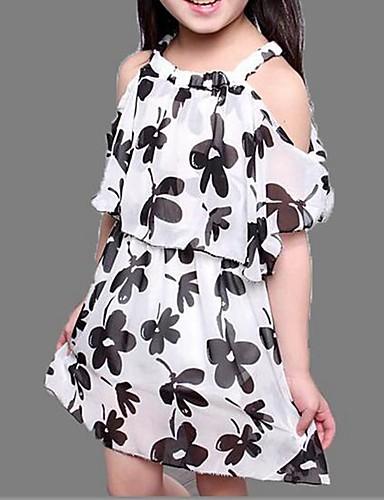 Robe Fille de Fleur Polyester Eté Noir / Blanc