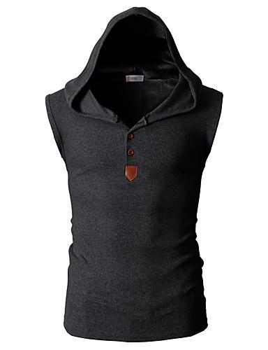 voordelige Heren T-shirts & tanktops-Heren Actief / Standaard Standaard Grote maten - Singlet Sport Effen Capuchon Slank Lichtblauw / Mouwloos / Zomer