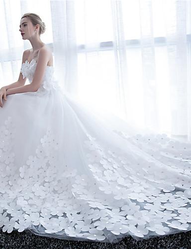 vestido de baile strapless catedral trem cetim vestido de casamento de tule com flor por noiva bordada