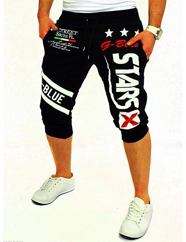 cheap Shorts-Men's Active / Basic Cotton Active / Sweatpants / Shorts Pants - Print / Letter Blue / Sports / Weekend