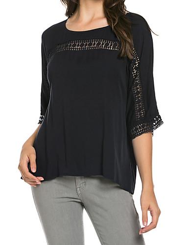 Damen Solide T-shirt Polyester