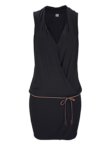Damen Hülle Kleid-Lässig/Alltäglich Einfach Solide V-Ausschnitt Mini Ärmellos Baumwolle Polyester Sommer Mittlere Hüfthöhe Mikro-elastisch