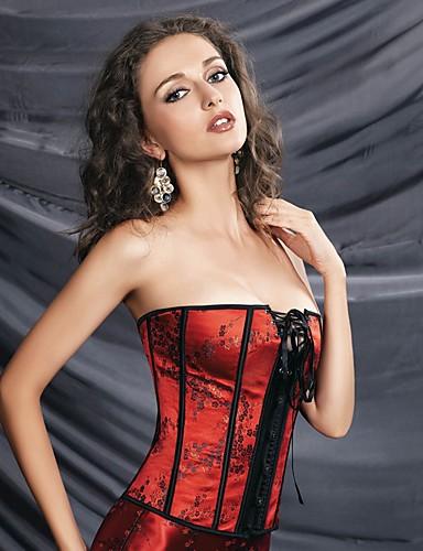 Mujer Gancho Corsé Inferior Corsé Superior Talla Grande Floral - Medio Poliéster Nailon Rojo