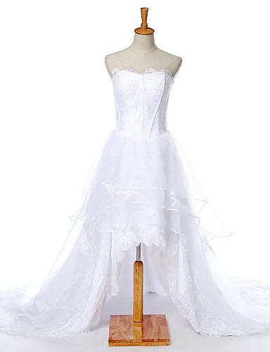 Trapèze Robe de Mariage  Asymétrique Coeur Dentelle avec Dentelle