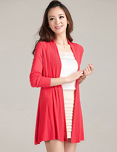 Women's Long Sleeves Cardigan - Solid, Cut Out Pleated