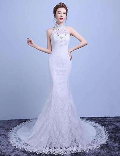 Sellő fazon Menyasszonyi ruha Udvari uszály Nyakpánt Csipke / Szatén / Tüll val vel Gyöngydíszítés / Csipke