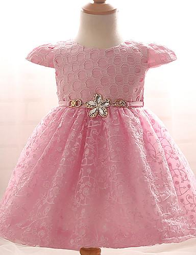 שמלה כותנה פוליאסטר קיץ שרוול קצר יום יומי\קז'ואל סרוג הילדה של
