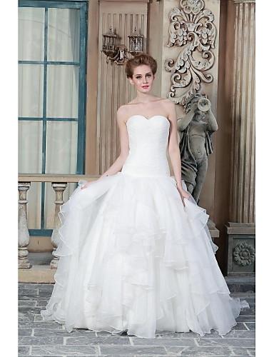 A-line Hochzeitskleid Jahrgang inspiriert Sweep / Pinsel Zug Schatz Organza Satin mit Applikationen Perlen