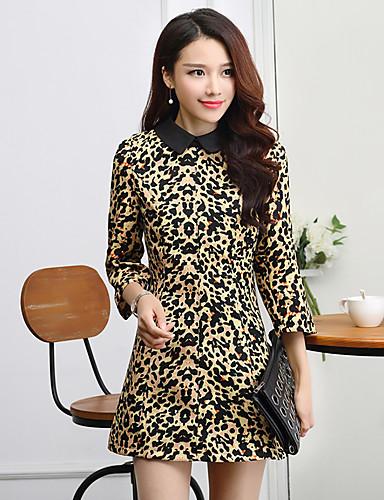 Damen A-Linie Kleid-Ausgehen Retro Leopard Hemdkragen Mini ¾-Arm Mehrfarbig Polyester Alle Saisons