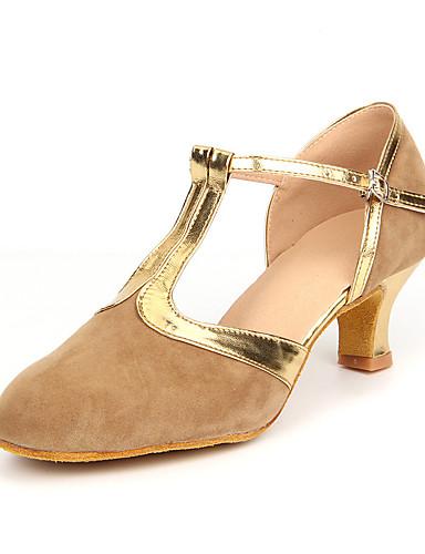povoljno Cipele za ples-Žene Brušena koža Moderna obuća / Standardni Štikle Kubanska potpetica Nemoguće personalizirati Crno-Gold / Smeđa / Royal Blue / Koža / EU42